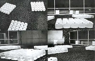 Organisation of the space of the Lunds Konsthall courtyard - Sweden / september-october 1967 - Jean-Michel Sanejouand